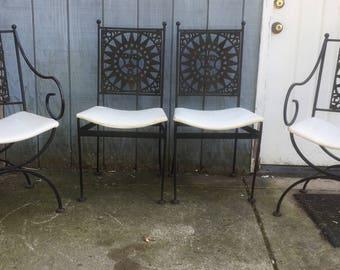 Arthur Umanoff Mayan Sun Iron Chairs Set of Four