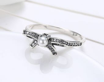Fashion 925 Sterling Silver Jewelry Ring for Girl Bowknot Pearl
