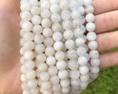8mm Moonstone AB Quality White Gemstone Mala Bead Supply Genuine Gemstone Semi Precious Smooth Glossy Round