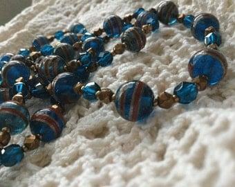 Vintage wedding cake Venetian bead necklace