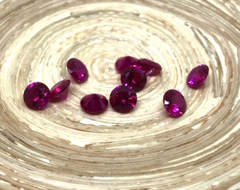 Round Cut 6mm 0.75ct Lab Created Ruby Rubies. Genuine Corundum.