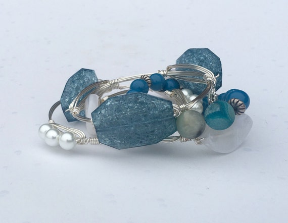 Teal Wire wrapped bangle, wire wrapped bangle bracelet, 3 stone bangle, faceted nugget, blue bangle bracelet