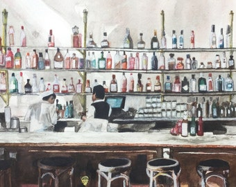 "Original ""Bar at Bottega Louie"" Watercolor and Ink Illustration - 9.75"" x 10"""