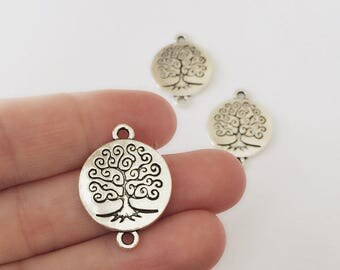3 Silver Tree Of Life Connector / 25 x 30 mm / Tree Jewelry Connectors / Tree Charms / Silver Bracelet or Necklace Connector / CH4