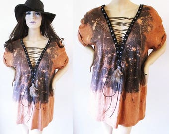 Black lace up shirt bleached shirt dress or tunic ombre with detachable brown feather S-2XL