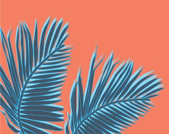 Palms (tropical, Pop Art, plant) Square Print