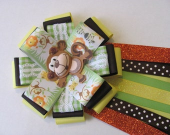 Safari Baby Shower Corsage / Monkey Baby Shower Corsage / Shower Corsage / Jungle Baby Shower Corsage