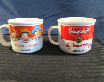 Vintage Campbell's Collectible Soup Bowls Cups Set of Two. Free Shipping.