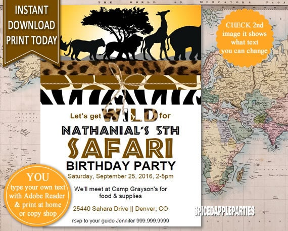 Safari Birthday Invitation Safari Party Invitation Jungle Animals