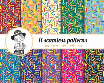 """11 seamless vector patterns """"Pencils"""", instant download"""