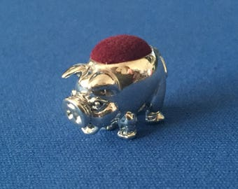 A Pig Pin Cushion Victorian Style sterling silver .925