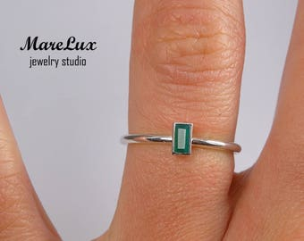 Natural Agate Baguette Cut Silver Ring, Green Agate Ring, Dainty Stacking Ring, Stackable Sterling Silver Agate Ring 925 Silver Tiny Ring