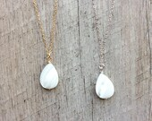 Mother of Pearl Teardrop Necklace, Short Necklace, Pendant Necklace, Pearl Necklace, Layer Necklace, Everyday Necklace, Free Shipping U.S.