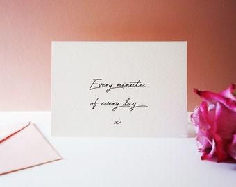 Valentines card - love card - valentine card - valentine card for her - valentine for him - minimal - modern - anniversary card