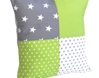 BEBILINO Original Patchwork Cotton Pillowcase 40x40 cm GREEN GREY