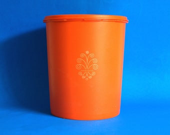 Orange Tupperware Container with Stylised Flower Swirl - Retro Tupperware Kitchen Canister - Made in Australia