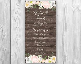 Printable Hand-Painted Watercolor Floral Wedding Menu Rose Peony Dinner Menu Modern Calligraphy Rustic Wood Wedding Menu