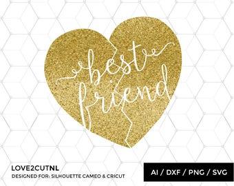 Best Friend SVG, DIY Best friend shirt, svg cut files, svg cutting files, svg silhouette, silhouette files, silhouette cameo file, BFF heart