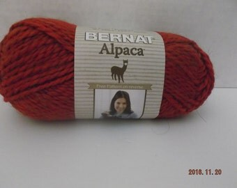 Bernat Alpaca Yarn ~ # 93705 Cherry ~ 3.5 oz/120 Yards ~ #5 Bulky ~ 120 Yards