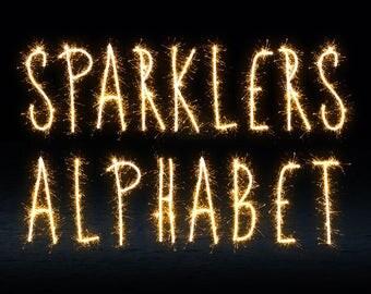 Sparklers Alphabet Photoshop Overlays, Wedding overlays, sparkler overlays, wedding sparkler, Light painting words, letters