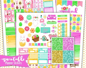 SALE!!!  Easter Bunny Weekly Kit | PRINTABLE Planner Stickers | Pdf, Jpg, and Png Format | ECLP Vertical Planner Stickers