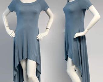 Elegant and Chic. Tunic Dress, Tunic, Hi Lo Tunic Dress, Asymmetrical Tunic Dress, Regular size Top, Boho, Steel Blue, Sizes S, M, L