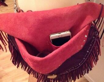 Leather Cross body boho bag.