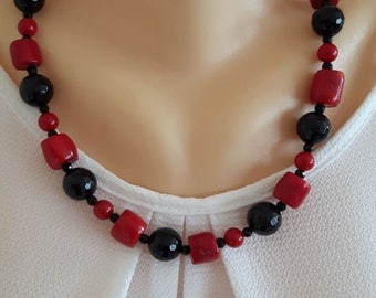 Red coral gemstone and cultured pearl necklace with Black Onyx