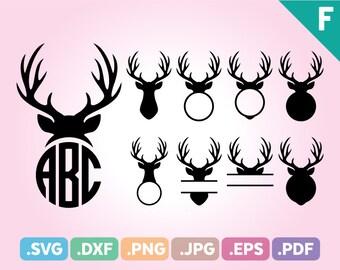 Antler SVG, Reindeer SVG, Hunting SVG, Antler Svg Files, Antler Pdf File, Antler Png Files, Antler Monogram Svg, Antler Dxf Instant Download