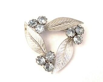 Silver Leaves with Sky Blue Rhinestones Brooch Pin Triangular Leaf Wreath Sparkling Rhinestone Detail Pastel Baby Powder Classic Vintage