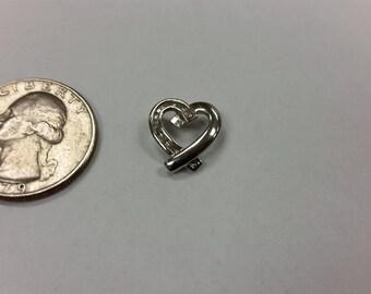 Vintage 10k white gold diamond heart pendant baer