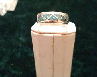 Vintage Inlaid Turquoise Sterling Silver Ring Size 6 1/4 4.0g AFSP