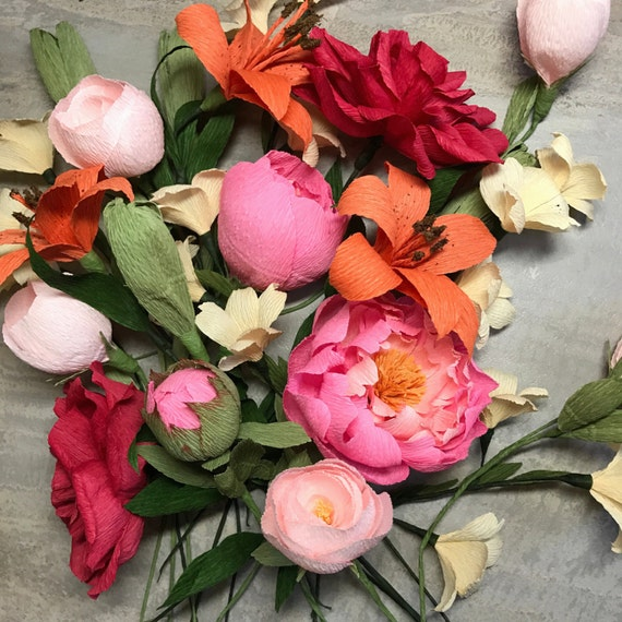 Paper Flower Arrangement, Create Your Own Set, Handmade Crepe Flowers | Event Flowers | Bridal Bouquet | Paper Floral Arrangement, Detailed