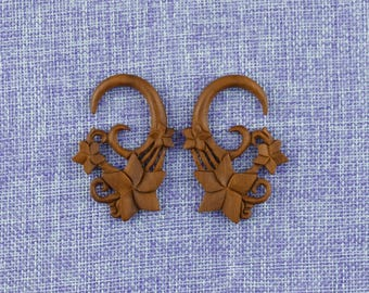 """Ear Weights, Earrings For Stretched Lobes,""""Flowers"""" 8 Gauge (3mm) Gauges, Saba Wood,Organic, Hand Carved,Tribal"""