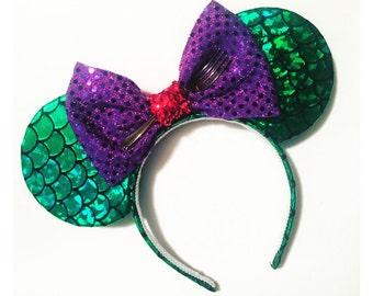 the little mermaid mickey ears, little mermaid ears, ariel minnie ears, ariel ears, ariel, mermaid ears