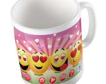 Emoji heart eyes mug