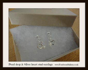 Pearl drop and Silver heart studs