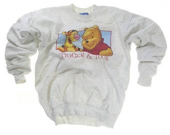 Vintage Disney Pooh and Tigger Big Graphic Sweatshirt Ash White Pullover
