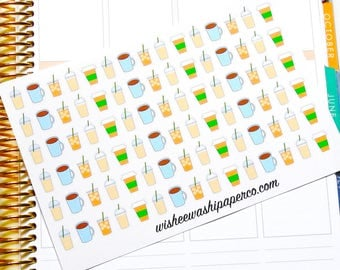 Coffee Stickers - Latte Stickers - Iced Coffee Stickers - Coffee Cup Stickers - Frappe Stickers - Planner Stickers