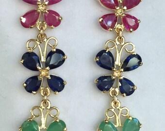 Vintage 14K Yellow Gold Red Ruby Green Emerald & Blue Sapphire Butterfly Drop Dangle Earrings