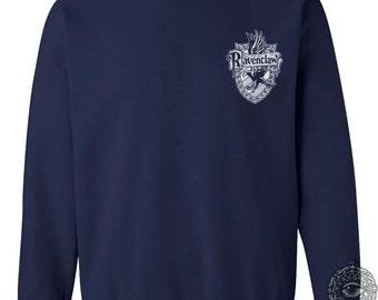 Ravenc Crest #2 Pocket WHITE print on Navy Crew neck Sweatshirt