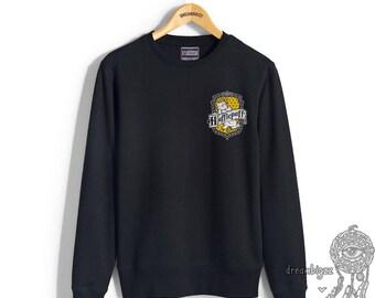 Huffle Crest #2 Pocket printed on Black Crew neck Sweatshirt