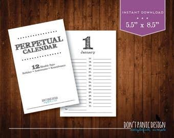 Rustic Perpetual Calendar - Birthday Calendar - Anniversary Calendar - Eternal Planner - Instant Download PDF