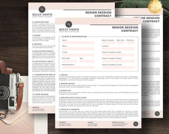 Session Contract Template for Senior Photographer, Photography Contract Form in MS Word and Adobe Photoshop INSTANT DOWNLOAD - SC003