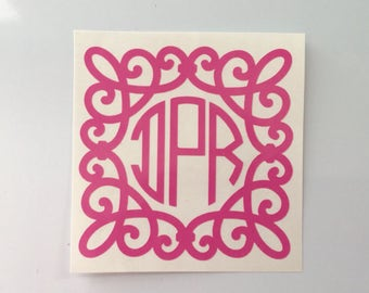 Decal - Yeti Decal - Big Little Sorority - Lilly Pulitzer Vinyl Monogram - Lilly Inspired Circle Monogram - Lilly Monogram - Monogram