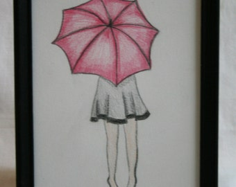 Girl with Pink Umbrella Sketch