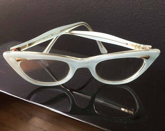 Vintage Girls Cat Eye Glasses Baby Blue Opalescent Pearl Kids Toddler Prescription Glasses 50s 60s American Optical Company AS IS