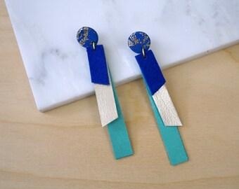 Geometric earrings, long dangle earrings, leather statement earrings for women, extra long earrings, blue earrings
