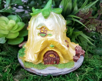 Miniature Teeny Fairy House - Yellow Tulip
