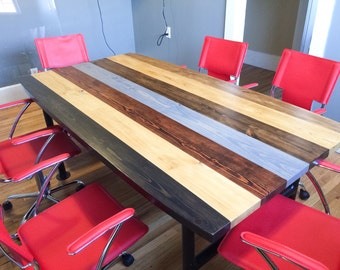 Conference Table With Black Iron Legs/Multi Stained Industrial Conference  Table/Industrial Desk With